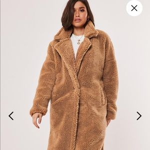 Missguided oversized teddy  borg coat TALL